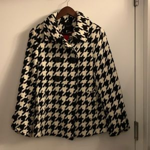 Houndstooth Pea cost, black/white, XS